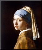 Meisje met de parel Kunstdruk geperst op hout van Jan Vermeer