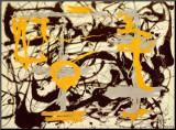 Jaune, gris, noir Affiche montée par Jackson Pollock