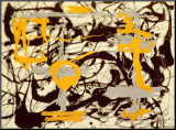 Yellow, Grey, Black Mounted Print by Jackson Pollock