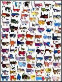 100 Katzen und eine Maus Aufgezogener Druck von  Vittorio