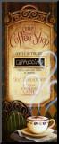 Menukaart koffiehuis, Engelse tekst: The Coffee Shop Kunst op hout van Lisa Audit