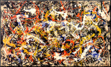 Jackson Pollock - Konvergence Reprodukce aplikovaná na dřevěnou desku