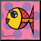 Dittie Fish Mounted Print by Romero Britto