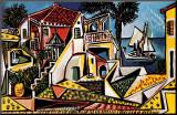Pablo Picasso - Středomořská krajina Reprodukce aplikovaná na dřevěnou desku