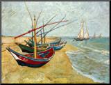 Vissersboten op het strand bij Saints-Maries, ca. 1888 Kunstdruk geperst op hout van Vincent van Gogh