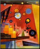 Zwaar rood Kunstdruk geperst op hout van Wassily Kandinsky