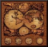 Mapa Antigo, Cartografia III Impressão montada