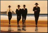 Vier mannen aan het strand: The Billy Boys Kunstdruk geperst op hout van Vettriano, Jack