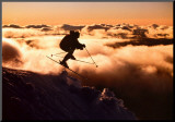 Challenge: Skier in Clouds Mounted Print