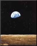 Earth Rise from Moon Mounted Print