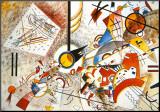 Livlig akvarell, ca 1923 Print på trä av Wassily Kandinsky