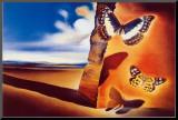 Landskap med sommerfugler|Landcape with Butterflies Montert trykk av Salvador Dalí
