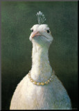 Geflügel mit Perlen Aufgezogener Druck von Michael Sowa