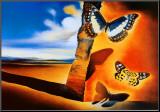 Landschaft mit Schmetterlingen Druck aufgezogen auf Holzplatte von Salvador Dalí