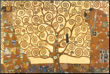 De levensboom Kunstdruk geperst op hout van Gustav Klimt