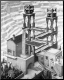 M. C. Escher - Vodopád Reprodukce aplikovaná na dřevěnou desku