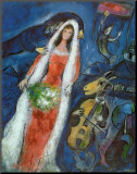 La Mariee Mounted Print by Marc Chagall