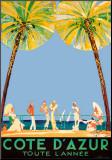 Jean-Gabriel Domergue - Azurové pobřeží po celý rok, Côte d'Azur (reklamní plakát ve francouzštině) Reprodukce aplikovaná na dřevěnou desku