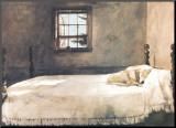 Großes Schlafzimmer Druck aufgezogen auf Holzplatte von Andrew Wyeth