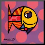 Striped Fish Lámina montada en tabla por Romero Britto