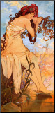 Summer Mounted Print by Alphonse Mucha