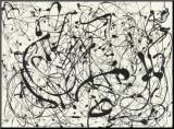 Jackson Pollock - Č.14 (šedá) Reprodukce aplikovaná na dřevěnou desku