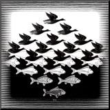 M. C. Escher - Nebe a voda Reprodukce aplikovaná na dřevěnou desku