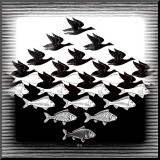 Sky and Water Mounted Print by M. C. Escher