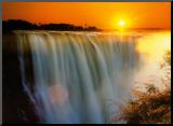 Victoria Falls - Zimbabwe Monteret tryk af Roger De La Harpe