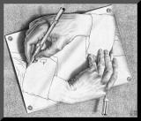 M. C. Escher - Kreslící ruce Reprodukce aplikovaná na dřevěnou desku