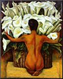 Akt mit Calla-Lilien Nude with Calla Lilies Druck aufgezogen auf Holzplatte von Diego Rivera
