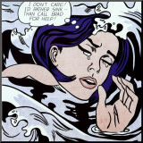 Drowning Girl Mounted Print by Roy Lichtenstein
