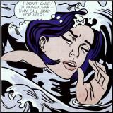 Verdrinkende vrouw Kunstdruk geperst op hout van Roy Lichtenstein
