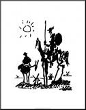 Pablo Picasso - Don Quijote, c. 1955 Reprodukce aplikovaná na dřevěnou desku
