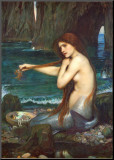 Die Meerjungfrau, 1900 Druck aufgezogen auf Holzplatte von John William Waterhouse