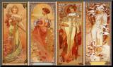 Las estaciones, 1900 Lámina montada en tabla por Alphonse Mucha