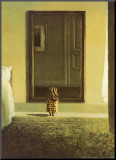 Bunny Dressing Mounted Print by Michael Sowa
