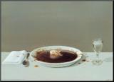 Michael Sowa - Prase v polévce Reprodukce aplikovaná na dřevěnou desku