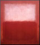Mark Rothko - Bílá nad červenou (White Over Red) Reprodukce aplikovaná na dřevěnou desku