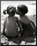 Kids Kissing Mounted Print