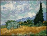 Korenveld met cipressen, ca.1889 Kunst op hout van Vincent van Gogh