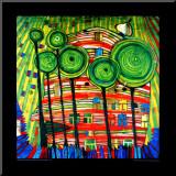 Geliefde tuinen, 1975 Kunstdruk geperst op hout van Friedensreich Hundertwasser