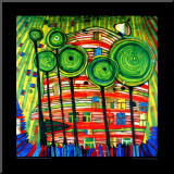 The Blob Grows in the Beloved Gardens, 1975 Mounted Print by Friedensreich Hundertwasser