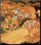 Vattenormar II, ca 1907 (detalj) Monterat tryck av Gustav Klimt