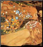 Waterslangen II, ca. 1907 (detail) Kunst op hout van Gustav Klimt