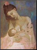 Moederschap Kunstdruk geperst op hout van Pablo Picasso