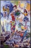 Marc Chagall - Na střechách Paříže (Sur les toits de Paris) Reprodukce aplikovaná na dřevěnou desku