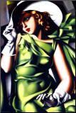 Kobieta w zieleni Umocowany wydruk autor Tamara de Lempicka