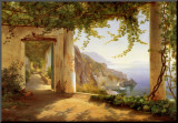 View to the Amalfi Coast Mounted Print by Carl Frederic Aagaard
