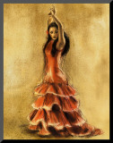 Flamenco Dancer I Mounted Print by Caroline Gold